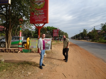 Dan and Taylor on the roadside en route to Pailin