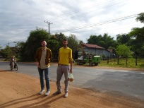 Ross and Ariel looking like Fashionable in rural Cambodia