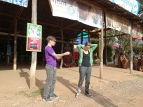 Dominic and Shauna at a rest stop in rural Cambodia